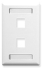 ICC IC107S02WH White Single Gang 2 Port Station ID Keystone Wall Plate