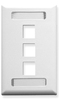 ICC IC107S03WH White Single Gang 3 Port Station ID Keystone Wall Plate