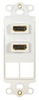 ICC IC107DDHWH White Dual HDMI Decora Insert with 2 Blank Ports