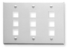 ICC IC107FT9WH White Triple Gang 9 Port Keystone Wall Plate